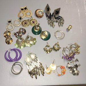 Lot of 20 pair of vintage earrings